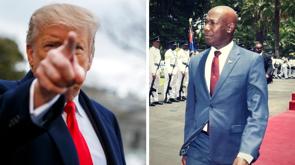 Left: President Donald Trump talks with reporters before boarding Marine One on the South Lawn of the White House, Friday, March 22, 2019, in Washington. (AP Photo/Evan Vucci). Right: Prime Minister Dr Keith Rowley attends the signing of the Dragon Gas deal at Miraflores Palace in Caracas, Venezuela on August 26, 2018. Photo via the Office of the Prime Minister.