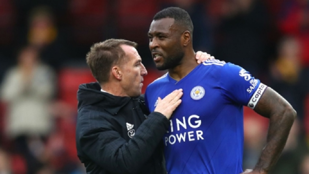 Leicester City manager Brendan Rodgers (left) and Wes Morgan.