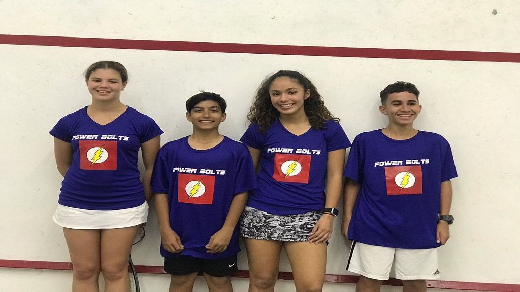 Junior players team, the Power Bolts (from left)  Savannah Thomson, Aman Dhiman, Mia Todd and Dylan Vaz.