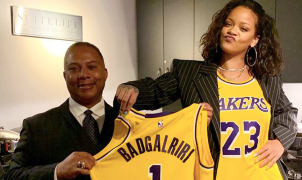 Larry Abel presenting Rihanna with her custom-designed Lakers jersey. PHOTO: lmamarinala IG