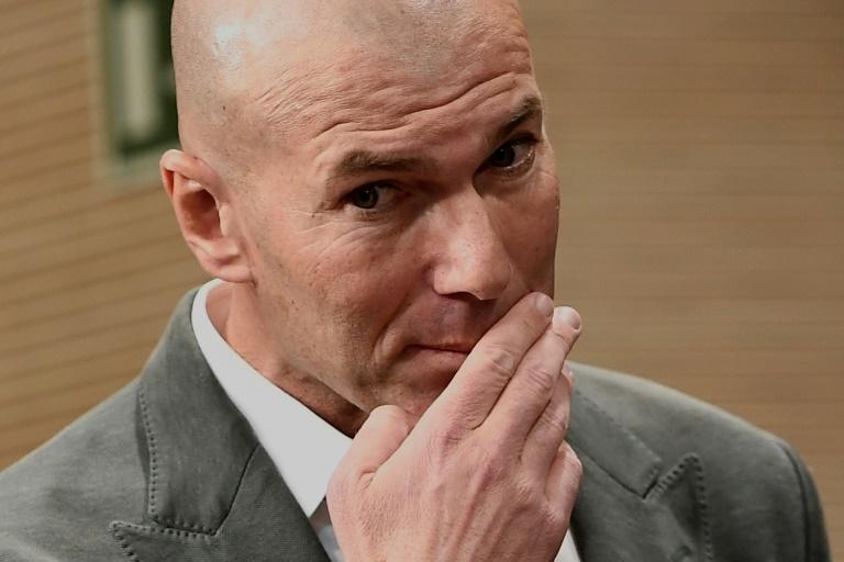 Le Français Zinédine Zidane, de nouveau entraîneur du Real Madrid, en conférence de presse, le 11 mars 2019 à Madrid