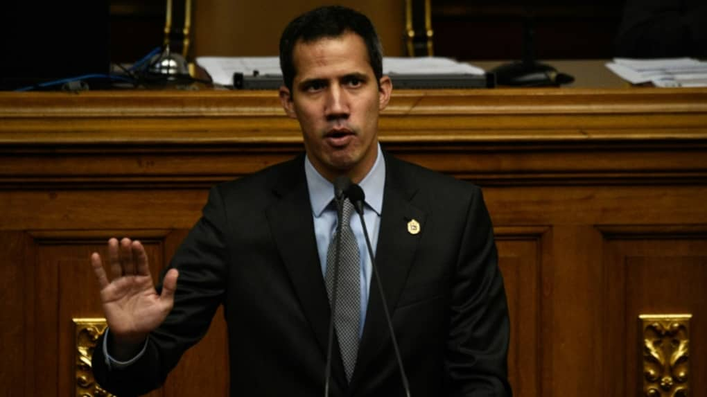 L'opposant et président autoproclamé du Venezuela Juan Guaido au Parlement,le 6 mars 2019 à Caracas