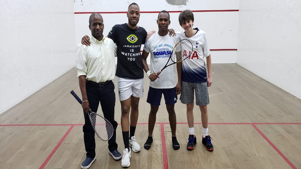 Members of the Adams Family who beat the Screaming Eagles in the quarter finals of the 2019 KPMG Squash League at the Liguanea Club on Tuesday, March 12.  (From left) are Adam Lee, Robert Roper, Allan Roper and Adam Hugh.