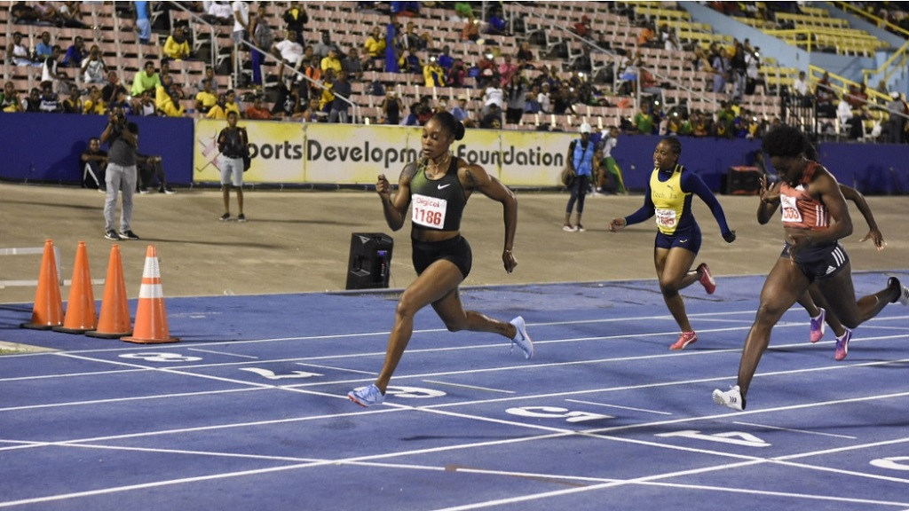 Double Olympic champion Elaine Thompson wins section one of the women's 60m invitational at the at the Queen's/Grace Jackson Meet at the National Stadium on January 26, 2019.