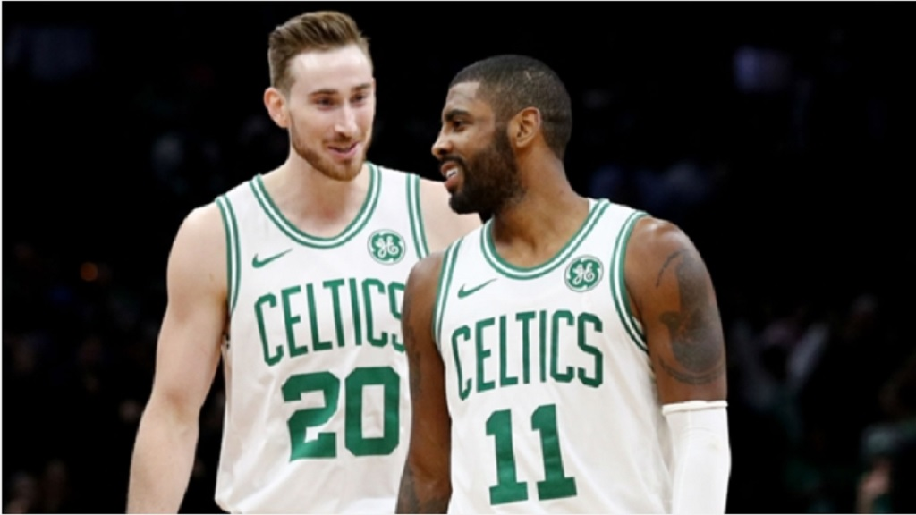 The Celtics' Gordon Hayward and Kyrie Irving.