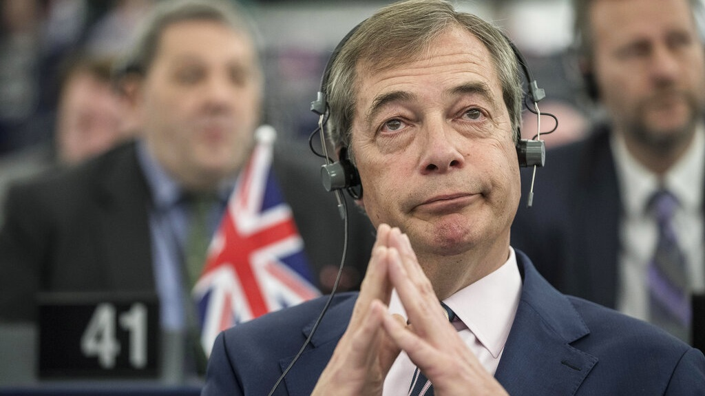 Former U.K. Independence Party (UKIP) leader and member of the European Parliament Nigel Farage at the European Parliament in Strasbourg, France, Wednesday March 27, 2019. The Parliament discusses the conclusions of the 21-22 March EU summit, including Brexit, with European Council President Donald Tusk and Commission President Jean-Claude Juncker. (AP Photo/Jean-Francois Badias)