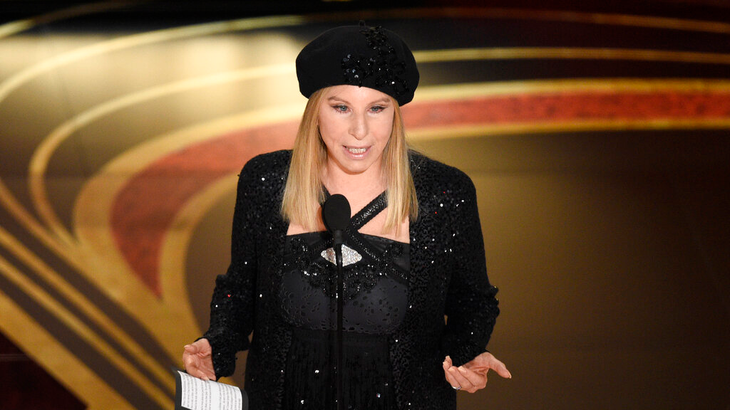 "In this Feb. 24, 2019 file photo, Barbra Streisand introduces ""BlacKkKlansman"" at the Oscars at the Dolby Theatre in Los Angeles. (Photo by Chris Pizzello/Invision/AP, File)"