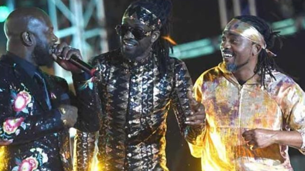 Road March winners Bunji Garlin, Skinny Fabulous and Machel Montano