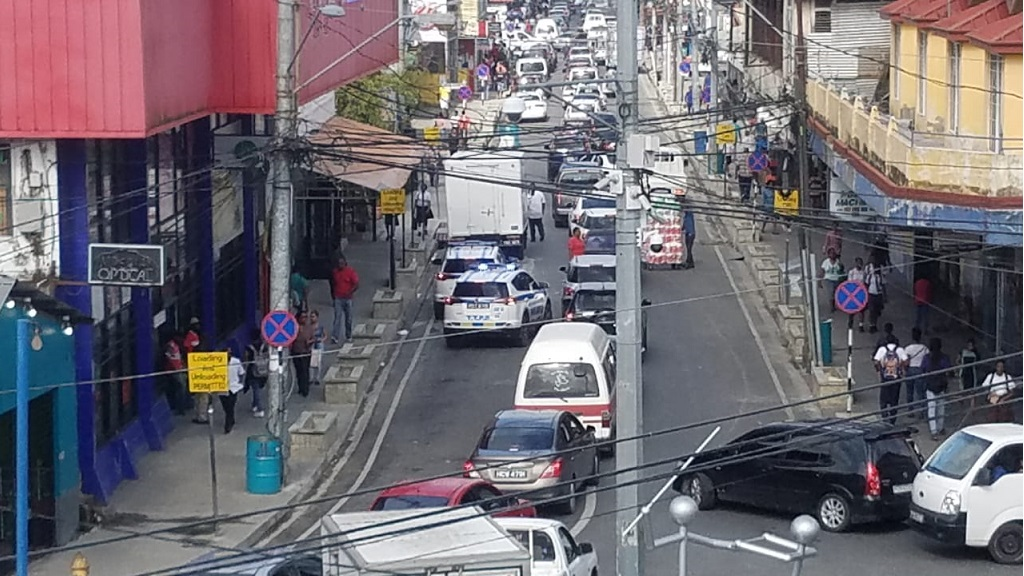 Photo: A photo shared by an anonymous source showed heavy traffic in Sangre Grande after the implementation of a new traffic plan on March 14, 2019. The signs for the new plan were covered later that day.