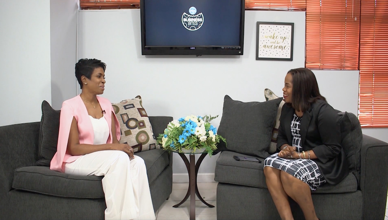 SVL CEO Ann-Dawn Young Sang (left) makes a point in discussion with Business Bites host Rochelle Mitchell.
