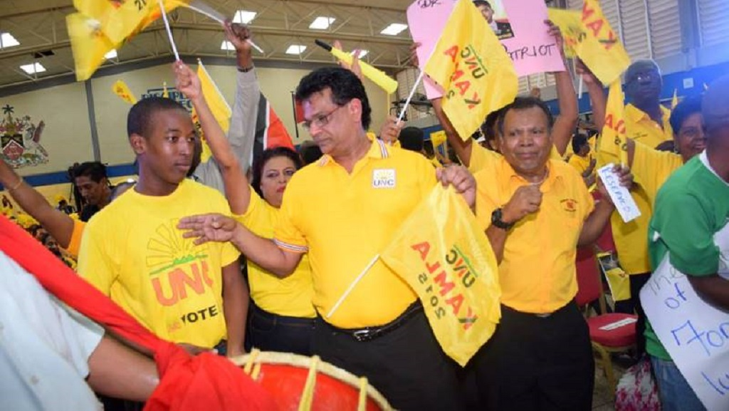 Photo: Former health minister and Barataria/San Juan MP Dr Fuad Khan at a UNC rally (undated). Photo via unctt.org.