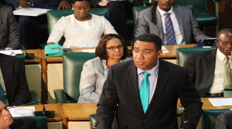 File photo of Prime Minister Andrew Holness addressing Parliament.