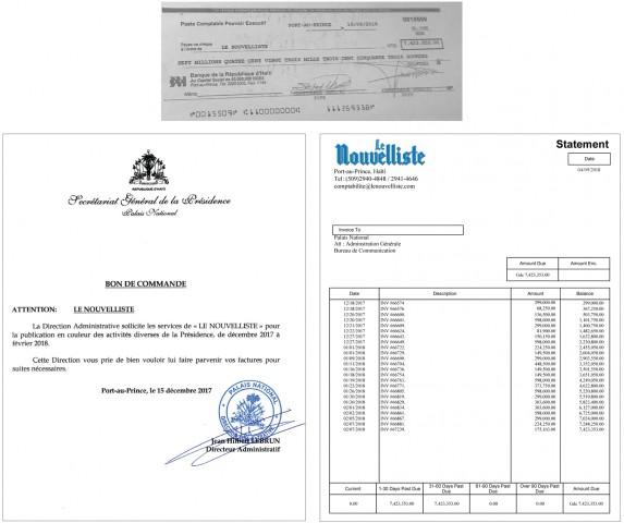 Après les propos diffamatoires de Michel Martelly, le chèque/ Titre de l'article paru dans les colonnes du journal Le Nouvelliste ce matin