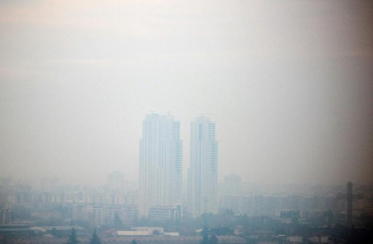 Vue de Skopje, l'une des villes les polluées d'Europe, en décembre 2018