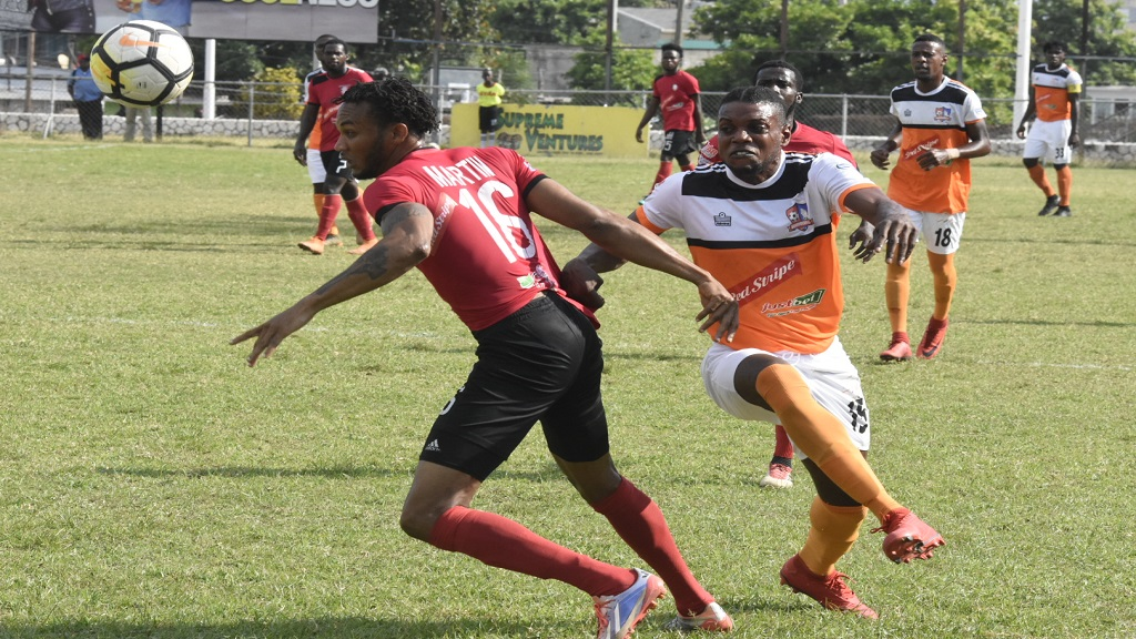 Action from the Red Stripe Premier League game between Arnett Gardens and Dunbeholden at the Anthony Spaulding Sports Complex on Thursday, March 14, 2019. (PHOTOS: Marlon Reid).