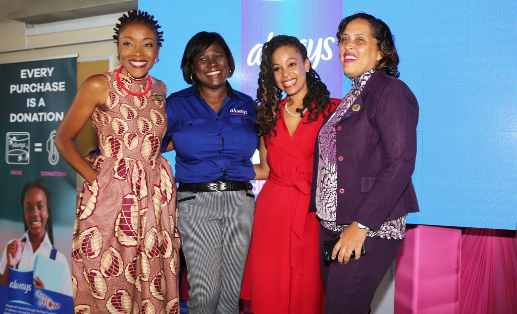 From left: Shelly-Ann Weeks (Her Flow Foundation, Tamara Thompson (General Manager Consumer Brands), Kamila McDonald (#EndPeriodPoverty Brand Ambassador) and Allison Cooke Hawthorne (Senior Education Officer at the Ministry of Education, Guidance and Counselling Division).