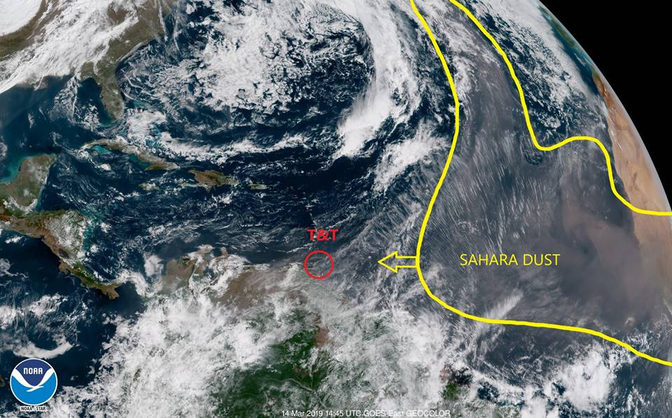 In the satellite image, the Saharan Dust plume is highlighted in yellow. Within this region, the image appears to be a fuzzy brown colour as this is how the Saharan Dust appears on this particular image. Photo via TT Met Office.