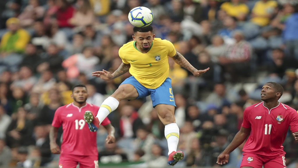 Brazil's Gabriel Jesus heads the ball during the friendly football match against Panama at the Dragao stadium in Porto, Portugal, Saturday, March 23, 2019.