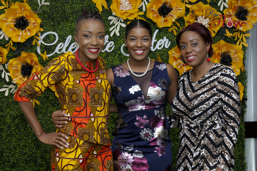 From left: Shelly-Ann Weeks, founder of HerFlow; Guest Speaker, Miss Jamaica Festival Queen 2018 Ackera Gowie; and Renee Rose, Curves brand manager  mirror bright smiles at the HerFlow Celebrate Her Unsung Sheroes Awards Brunch.