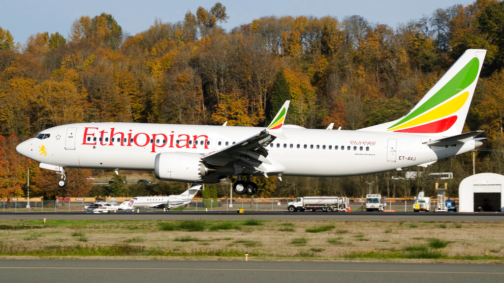 In this photo dated November 12, 2018, the actual Ethiopian Airlines Boeing 737 - Max 8 plane, that crashed Sunday March 10, 2019, shortly after take-off from Addis Ababa, Ethiopia, shown as it lands at Seattle Boeing Field King County International airport, USA. U.S. aviation experts on Tuesday March 12, 2019, joined the investigation into the crash of this Ethiopian Airlines jetliner that killed 157 people, as questions grow about the new Boeing plane involved in the crash. (AP Photo/Preston Fiedler)