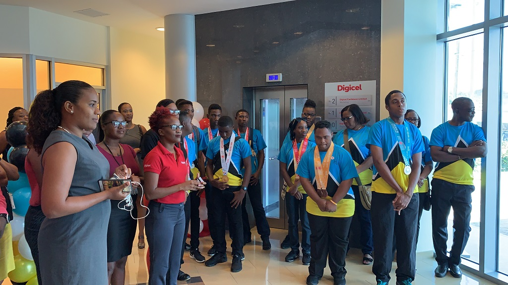 SLU Special Olympics athletes meet and mingle with Digicel staff after returning from the 2019 World Games