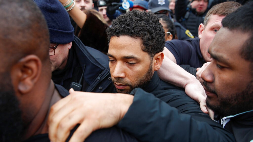 "In this Feb. 21, 2019 file photo, ""Empire"" actor Jussie Smollett leaves Cook County jail following his release in Chicago. (AP Photo/Kamil Krzaczynski, File)"