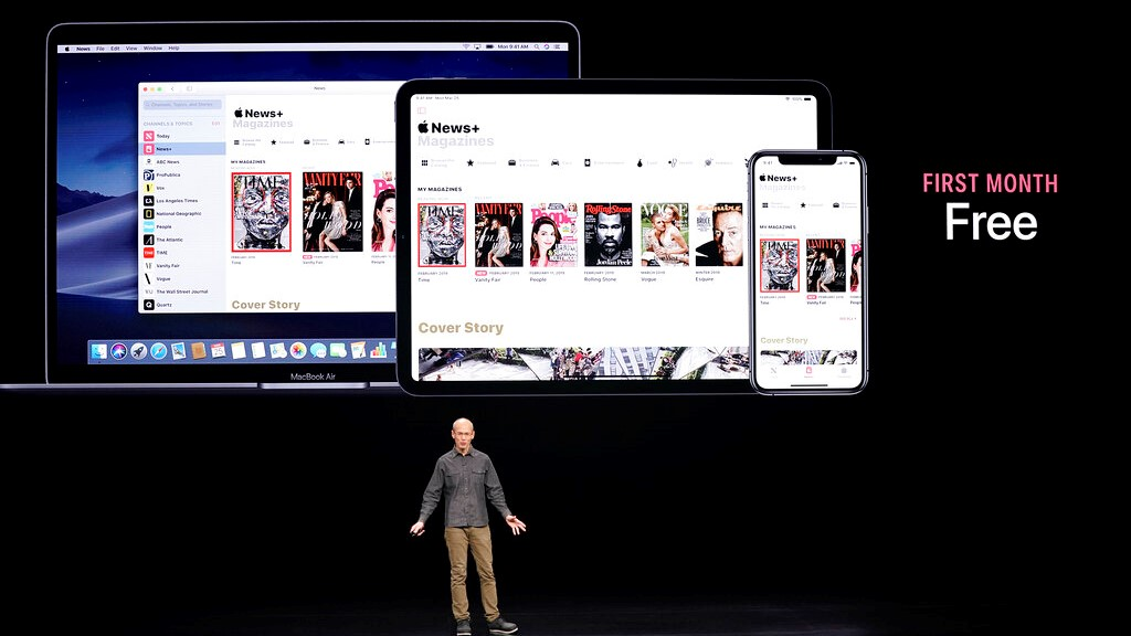 Roger Rosner, Apple vice president of applications, speaks at the Steve Jobs Theater during an event to announce new products Monday, March 25, 2019, in Cupertino, Calif. (AP Photo/Tony Avelar)