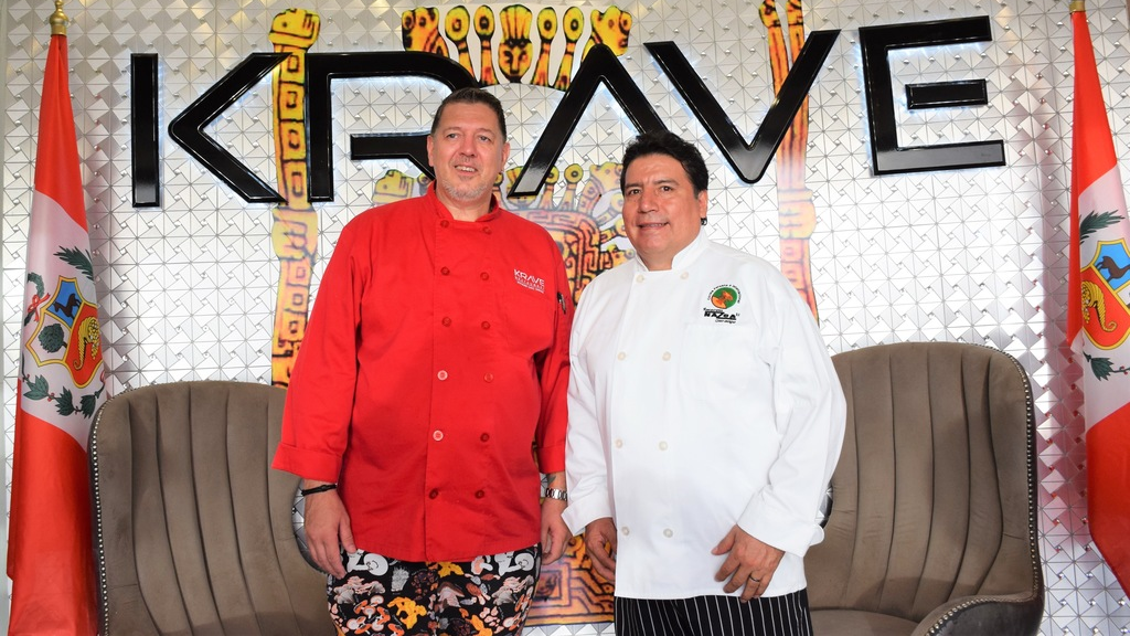 Krave's resident Chef Beens in red with Peruvian Chef Aristoteles