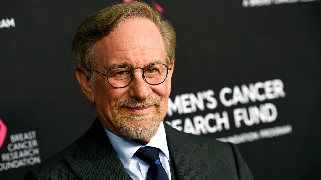 "FILE - In this Thursday, Feb. 28, 2019, file photo, filmmaker Steven Spielberg poses at the 2019 ""An Unforgettable Evening"" benefiting the Women's Cancer Research Fund, at the Beverly Wilshire Hotel, in Beverly Hills, Calif. (Photo by Chris Pizzello/Invision/AP, File)"