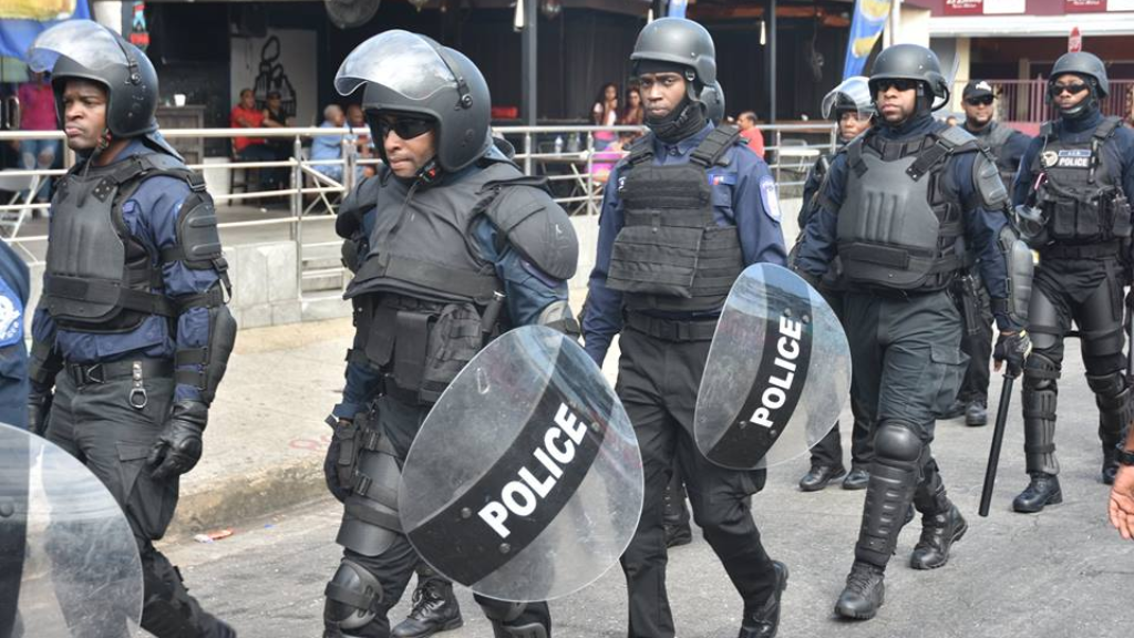 Members of the Police Service patrol the streets during Carnival. Photo via Facebook,TTPS.