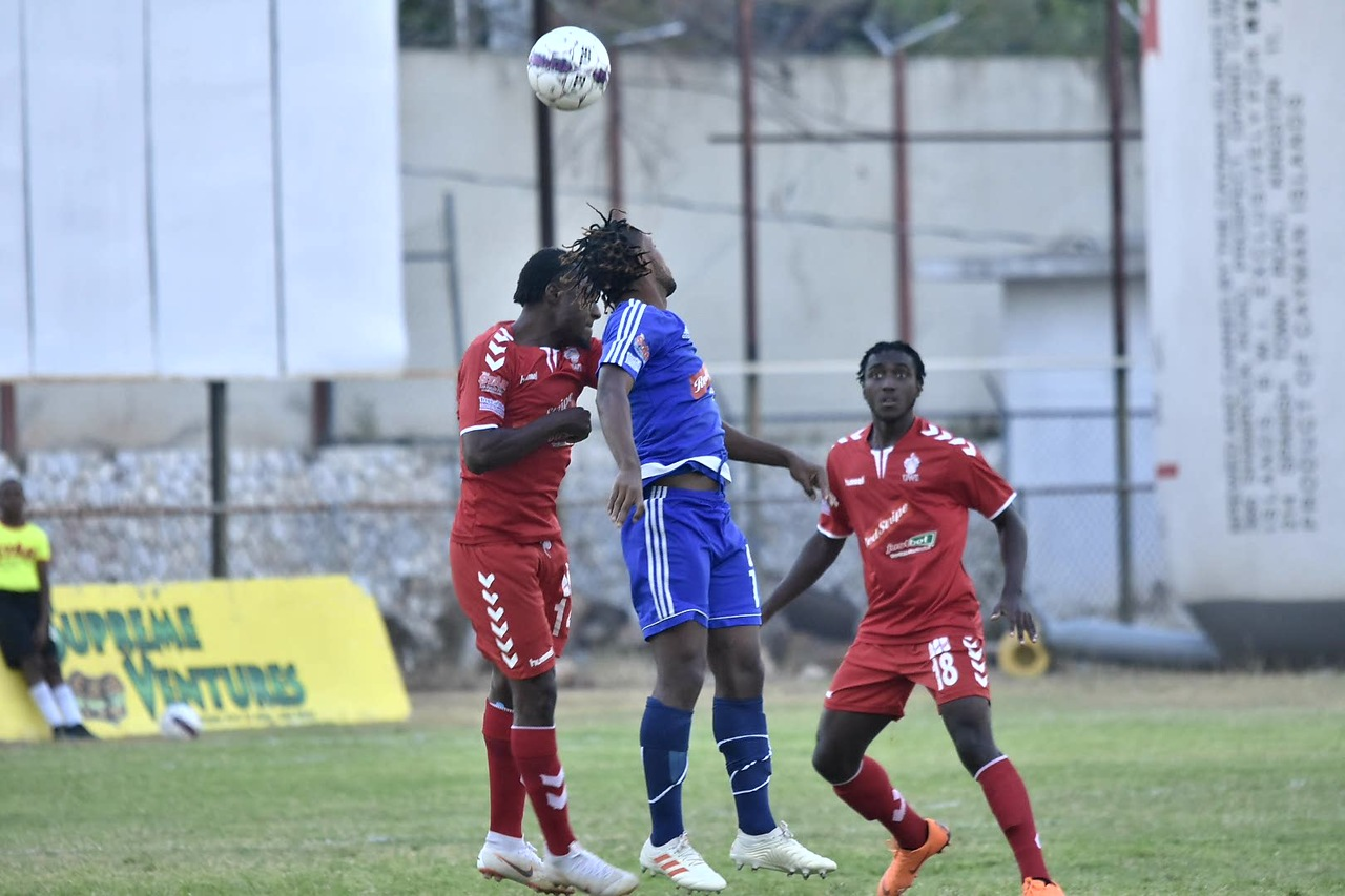Mount Pleasant and UWI players engaged in a keen aerial battle and focus during their quarter-final RSPL clash on Sunday.