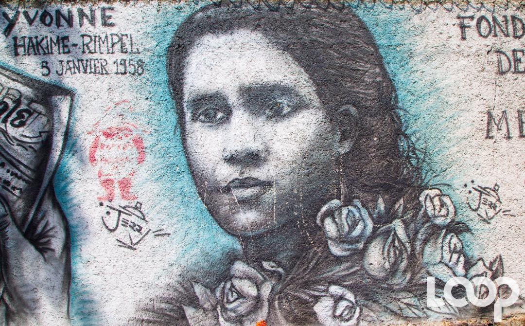 À la rue Camille Léon, un graffiti de madame Yvonne Hakime Rimpel, réalisé en sa mémoire, sur l'initiative de la Fondation Devoir de mémoire Haïti / Photo et vidéo: Luckenson Jean