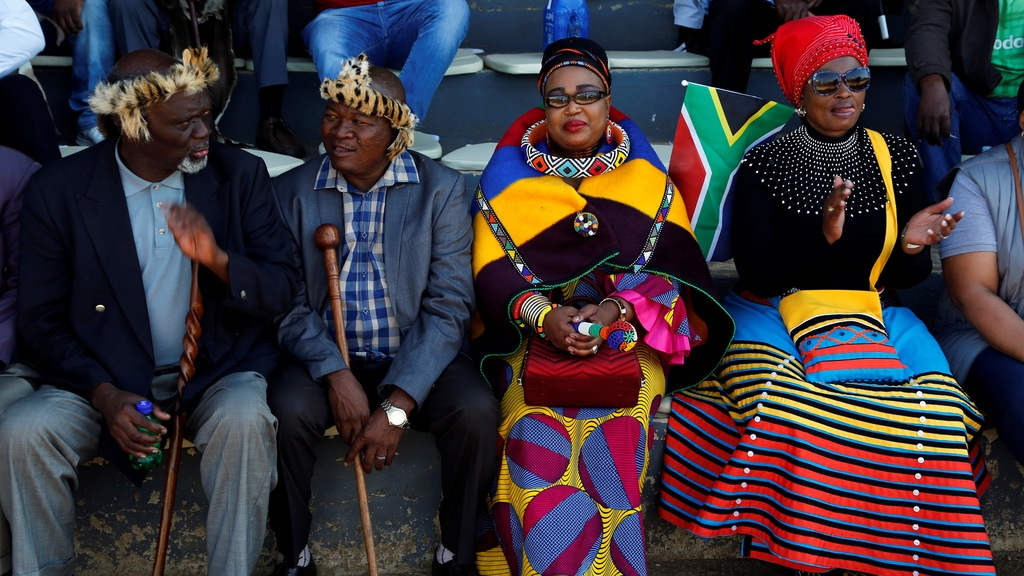 People attend Freedom Day celebrations in Kwa-Thema Township, near Johannesburg, Saturday April 27, 2019. The country celebrates the day which commemorates the 25th anniversary of the end of apartheid. (AP Photo/Denis Farrell)