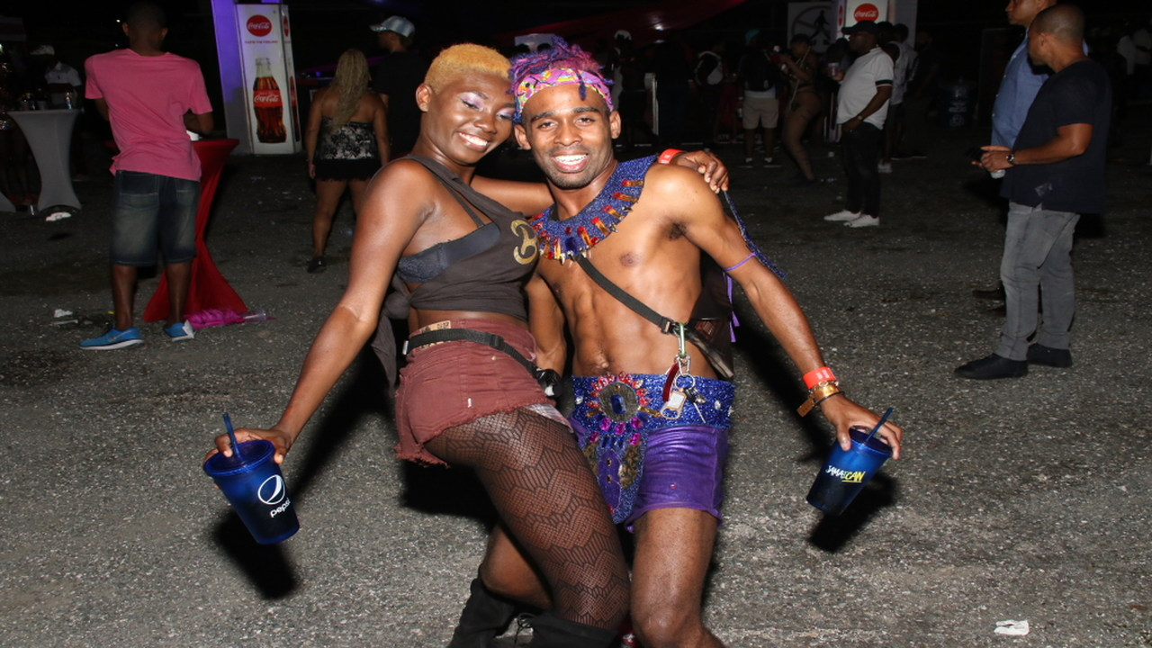 These two revellers had a blast at Regency Carnival on Sunday. (PHOTOS: Llewellyn Wynter)