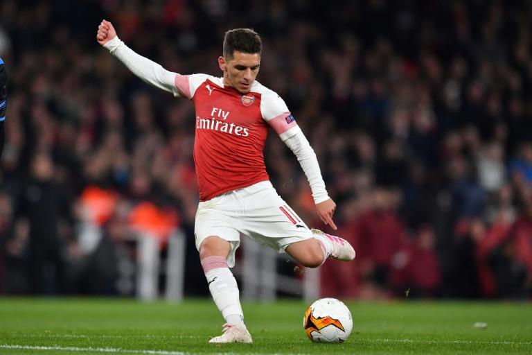 Le milieu uruguayen Lucas Torreira marque le second but d'Arsenal contre Naples en quart de finale aller de la Ligue Europa, le 11 avril 2019 à Londres