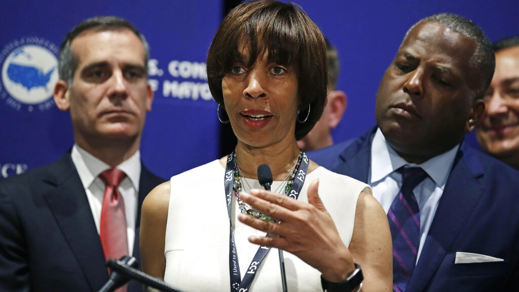 In this June 8, 2018 file photo, Baltimore Mayor Catherine Pugh addresses a gathering during the annual meeting of the U.S. Conference of Mayors in Boston. (AP Photo/Charles Krupa, File)