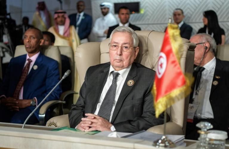 Le président du Conseil de la Nation, Abdelkader Bensalah, lors d'un sommet de la Ligue arabe, le 31 mars 2019 à Tunis