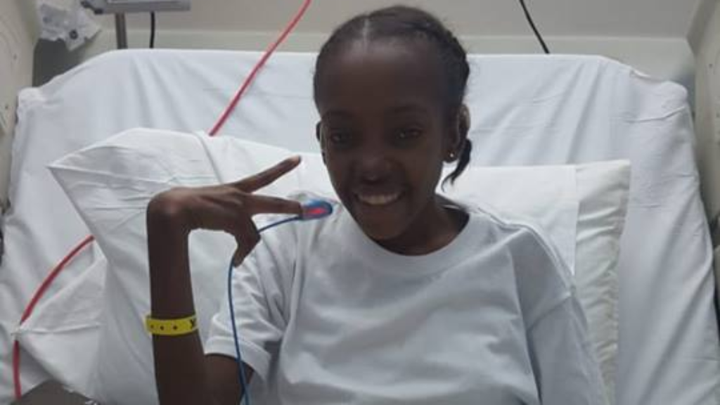 Photo: Shanice Baptiste at Sheikh Khalifa Medical City at Abu Dhabi. She is expected back in Trinidad and Tobago after suffering an asthma attack. Image via Facebook, Special Olympics Trinidad and Tobago.