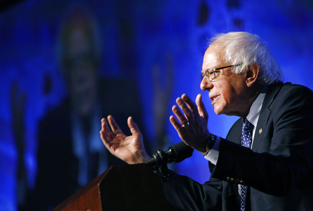 In this April 8, 2019, photo, Democratic presidential candidate Sen. Bernie Sanders, I-Vt., speaks at a convention of the International Association of Machinists and Aerospace Workers in Las Vegas. (AP Photo/John Locher)