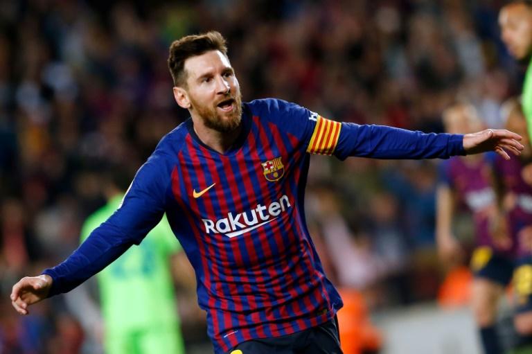 L'attaquant du FC Barcelone Lionel Messi buteur lors de la victoire à domicile sur Levante 1-0 en 35e journée du championnat d'Espagne le 27 avril 2019