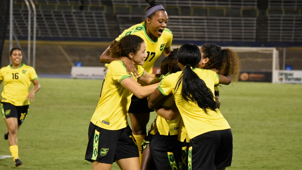 Jamaica's Reggae Girlz celebrate after defeating Chile 1-0 in the first of their two-match friendly international at the National Stadium on Thursday, February 28, 2019. (PHOTO: Marlon Reid).