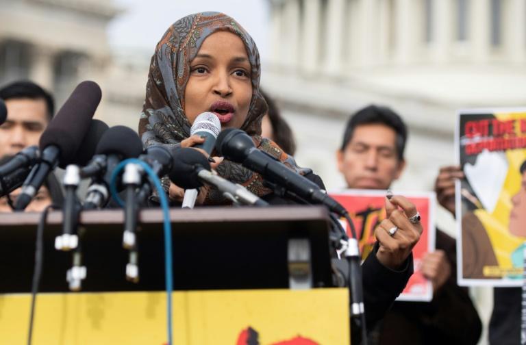L'élue démocrate du Minnesota, Ilhan Omar, le 7 février 2019 devant le Capitole à Washington