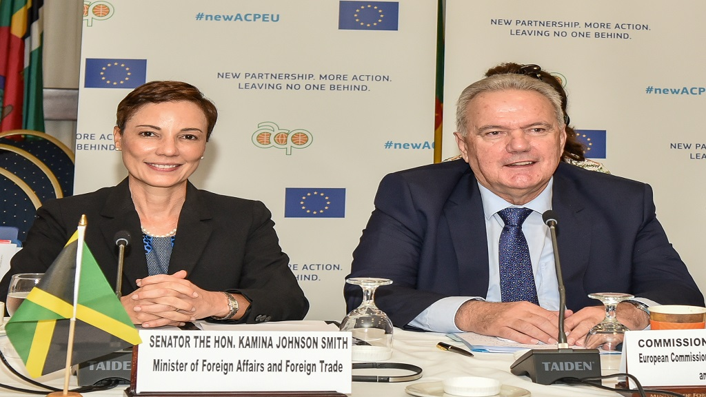 Commissioner for International Cooperation and Development Neven Mimica (right) and Minister of Foreign Affairs Kamina Johnson Smith CARIFORUM summit on Monday.