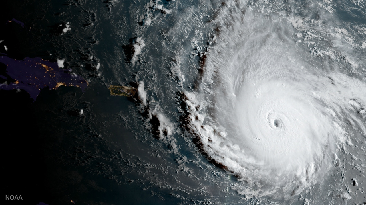 In this geocolor image captured by GOES-16 and released by the National Oceanic and Atmospheric Administration (NOAA), Hurricane Irma, a potentially catastrophic category 5 hurricane, moves westward, Tuesday morning, Sept. 5, 2017, in the Atlantic Ocean toward the Leeward Islands.