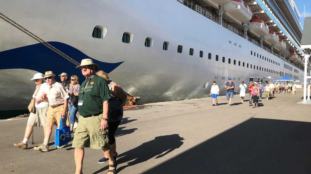 Passengers disembarking from the Princess Cruise Lines in Port-of-Spain