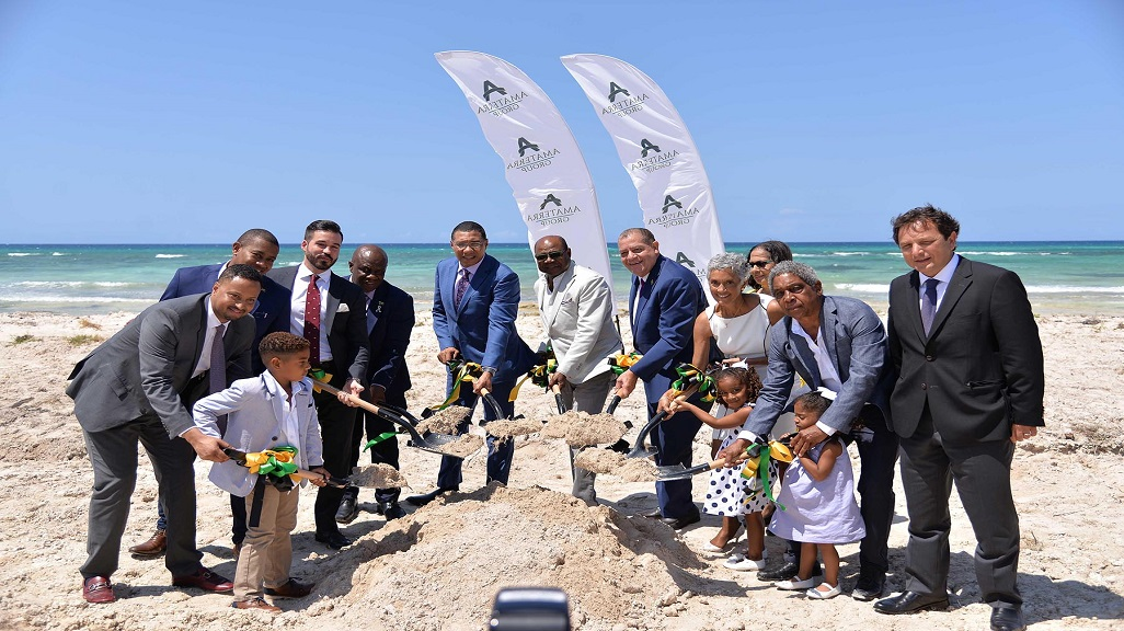 Prime Minister Andrew Holness (centre), Tourism Minister Edmund Bartlett, Industry Minister Audley Shaw, join Chairman of Amaterra Group Keith Russell and his wife, Paula (2nd & 3rd right respectively) at groundbreaking for the construction of the 800-room Amaterra resort in Trelawny.