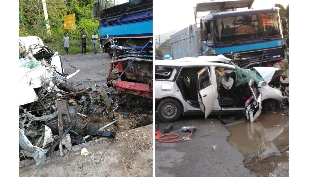 Combination of photos shows the mangled remains of a motor vehicle after it collided with a truck in Spanish Town on Tuesday, killing two people.