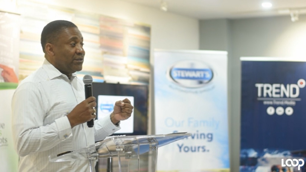 Opposition Spokesperson on technology, Phillip Paulwell addresses the audience at the launch of the Global Digital Marketing Summit on Wednesday.