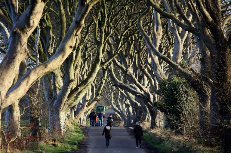 """Des Français fans de la série """"Game of Thrones"""", Claire Pottier et Hugo Chivard, en visite le 17 avril 2019 au château de Strangford en Irlande du Nord, un site de tournage de la série"""