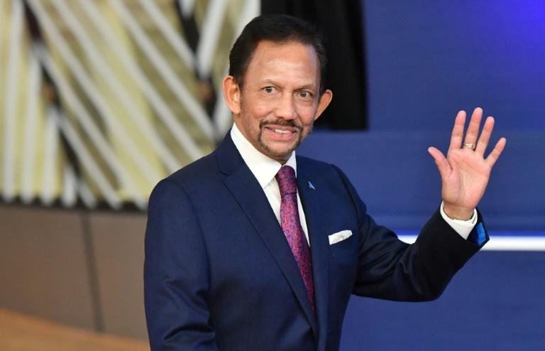 Le sultan de Brunei Hassanal Bolkiah, lors d'une conférence à Bruxelles le 18 octobre 2018